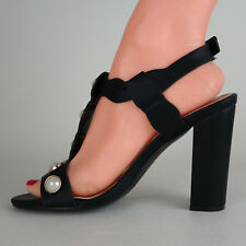 Scarpe DONNA Sandalo Decolte' con Perle Nero Estate con Tacco Gioiello Eleganti