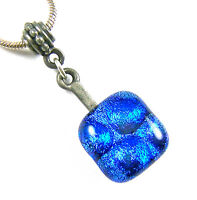 "DICHROIC Fused Glass Small PENDANT Bright Blue 1/2"" 12mm Round Dots Bubbles"