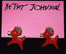 BETSEY JOHNSON ADORABLE RED ENAMEL RUDOLPH WITH A CRYSTAL NOSE EARRINGS