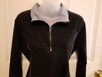 Victoria's Secret PINK YOGA Black Pullover Shirt VS Love Pink Top 1/4 Zip Sz M