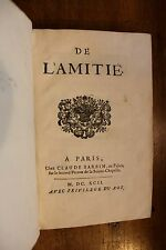 1692 De l'Amitié Pierre de Villiers Chants Poèmes bibliophilie Barbin Impression