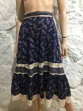 New listing Vintage 70's Gunne Sax Blue Floral Skirt Prairie Hippie Boho Lace Cotton sz 9