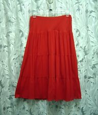 CHAPS BOHO PEASANT RED CRINKLE GAUZE LINED TIERED PULL-UP MIDI SKIRT~L~XL~NEW