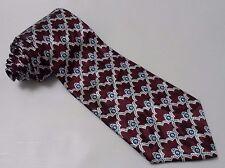 CHRISTIAN DIOR Mens Burgundy White Blue Pattern Necktie Tie Silk