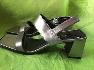"Nine West ""RAMA"" Silver Strap Slip On Sandal Shoes Size 7.5M"