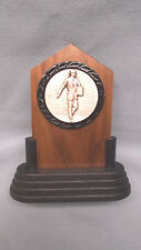 salesman trophy solid walnut award silver metal insert
