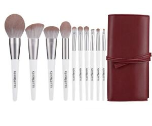 GEORGETTE Professional Cruelty-free Makeup brush 10pcs Set, Eyebrow brush-white