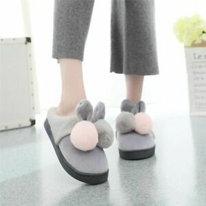 Warm Home Slippers Cute Rabbit Ears Footwear Women Plush Cotton New Indoor Shoes