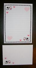 Mignon Kawaii vache avec amour rose coeurs Letter Writing Paper Stationery Set