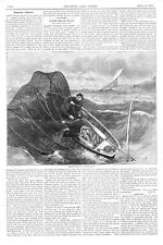 Emptying a Shad Net   -   Shad Fishing   -   1871 Antique Print