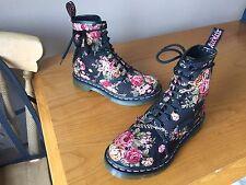 Dr Martens 1460 black canvas victorian floral boots UK 3 EU 36 skin punk goth