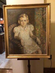 Vintage 1962 H. Ledyard Towle Original Framed Child Portrait