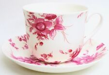 Eden Ruby Large Cup & Saucer Bone China Pink Floral Breakfast Set Hand Decor UK