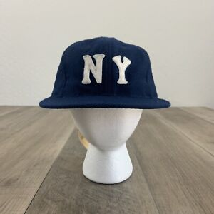 NEW Ebbets Field Flannels New York Black Yankees Baseball Hat Blue Size 7 1/4