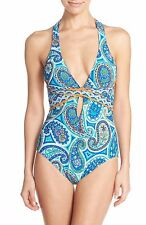 TRINA TURK 'Provence Paisley' Crossback One Piece Swimsuit Bthing Suit sz 10 NEW