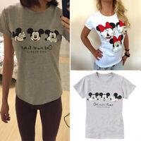 Women Cartoon Round Neck T Shirt Top Summer Short Sleeve Tee Blouse Casual Tops