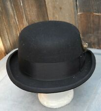 """CLASSIC BLACK WOOL MEN'S BOWLER HAT 4.5""""CROWN, SZ  X-LARGE BY HATS IN THE BELFRY"""