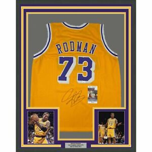 FRAMED Autographed/Signed DENNIS RODMAN 33x42 Los Angeles Yellow Jersey JSA COA