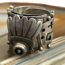 Vintage Mexican Sterling Silver Eagle 3 Signed VOD Poison Ring Adjustable NSS