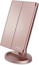 Lighted Vanity Makeup Mirror Tri-Fold 21 LED Lights Touch Screen Rose Gold Gift