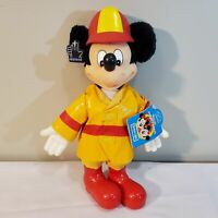 """Vintage MICKEY MOUSE Applause 11.5"""" Vinyl Firefighter Fireman Plush Doll w/ TAGS"""