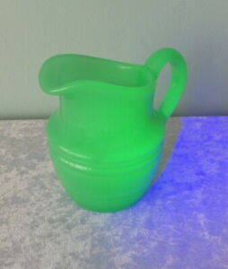 "Antique green vaseline glass pitcher heavy ribbed 6 1/2"" uranium 3 lbs."
