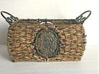 "Vintage Metal and Rattan Rectangular Basket Floral Medallion Metal Handles 6x14"""