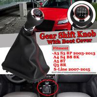 6 Marchas Pomo Palanca de Cambios Perilla para Audi A3 S3 8p A4 S4 Q5 8T 8R B8