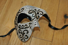 Crackled MENS Venetian Phantom/Half face Mask. Masquerade /Ball /Prom.UK STOCK.