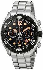 NEW Bulova 98B244 Sea King UHF Chronograph S/S Case & Bracelet Black Dial Watch