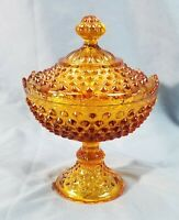 Vintage Fenton Colonial Amber Hobnail #3784 Footed Round Covered Candy Box