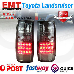 Pair LED Tail lights Black Smoked For Toyota Landcruiser 80 Series LH+RH