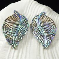 Multicolor Paua Abalone Shell Iridescent Carved Abstract Leaf Earring Pair 2.92g