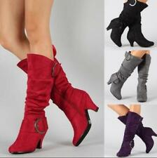 Pull On Elastic Womens Plicated Mid Calf Boots Suede Mid Heel Stage Show Shoes