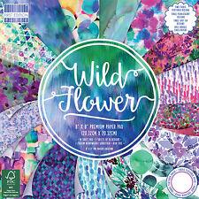 48 foglio pieno fiore selvatico 8 x 8 Card Making Scrapbooking Craft Carta di supporto