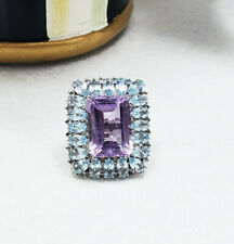 Rarities by Carol Brodie for HSN Large Emerald cut Amethyst and Topaz Ring 8