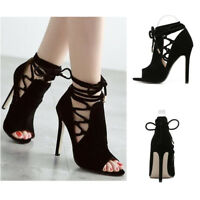 High Heels Womens Gladiator Stiletto Peep Toe Ankle Strappy Lace Up Sandals