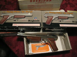NOS Benjamin H17 PISTOL w/ ORIGINAL BOX *Mint Condition* .177 Cal Nickel Silver