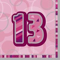 16 x PINK GLITZ AGE 13 NAPKINS 33cm 3ply PARTY TABLEWARE 13TH NEW GIRLS BIRTHDAY