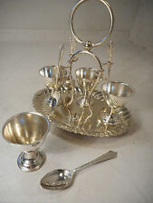 Silver Plate Egg Cup & Spoon Cruet set    ref 1268