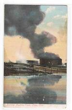 Burning Naptha Tank Lima Ohio 1910c  postcard