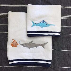 Pottery Barn Kids shark Bath Towel hand towel  navy 2pc