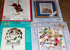 4 Counted Cross Stitch Kits 5 x7 Janlynn Bucilla Candemar Turtle Cat Shoes Puppy