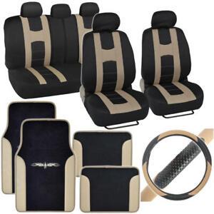 Complete Interior Set Car Seat Cover, Mat & Steering Wheel Cover - Black / Beige