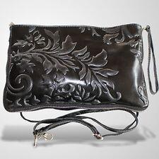 Clutch Abendtasche Schultertasche Leder Umhänge Tasche Handtasche Schwarz 3