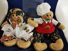 "Gingerbread Man & Woman in matching clothes - 18"" unmarked handmade? - VG 181113"
