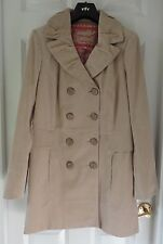 M&S Per Una Pure Cotton Double Breasted Corduroy Jacket, Stone, Size 12, BNWT
