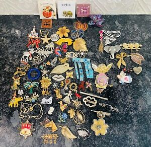 Brooch Lot of 79 Brooches Pins Vintage to Modern Rhinestone Gold Silver