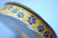 "Printed Grosgrain Ribbon, Dog Paws, 22 mm or 7/8"", Yellow, 4 Metres"