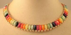 Vintage 60's Lucite Moonglow Bead Collar Necklace Multi Color
